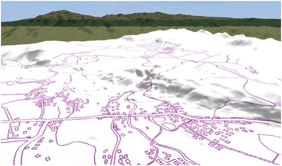 Fig.10 地図データを元にUC-win/Roadで3次元解析した地形
