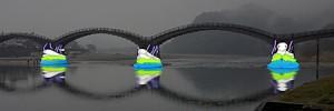 <錦帯橋には岩国ゆかりの映像が投影されます:画像は白蛇の投影イメージ> (C)宮﨑しずか